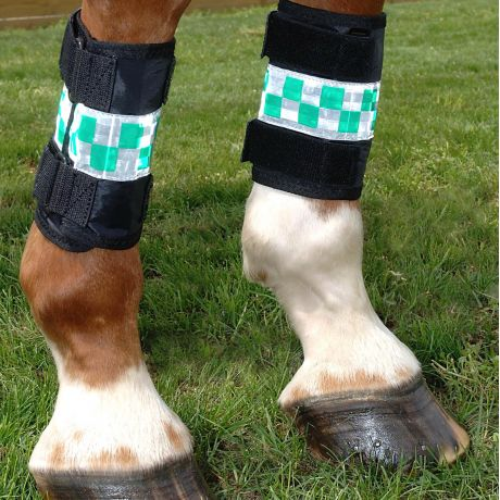 Hi Vis Reflecting Leg Wraps Green Chequer